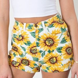 American Apparel Sunflower High-Waist Cuff Shorts